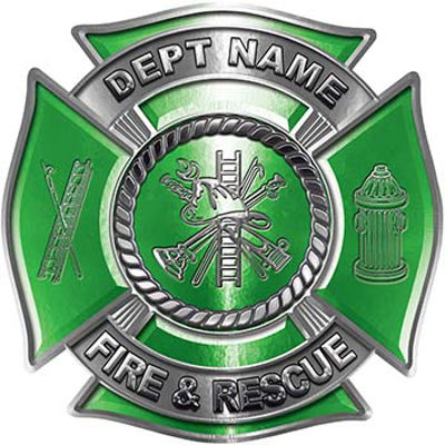 Custom Personalized Fire Fighter Decal with Fire Scramble in Green
