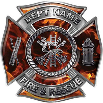 Custom Personalized Fire Fighter Decal with Fire Scramble in Inferno