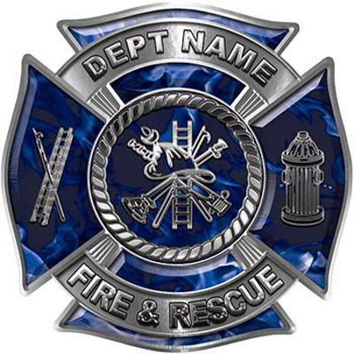 Custom Personalized Fire Fighter Decal with Fire Scramble in Blue Inferno