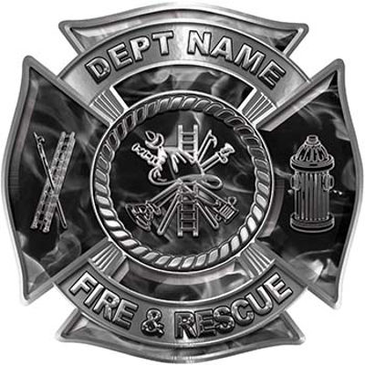 Custom Personalized Fire Fighter Decal with Fire Scramble in Gray Inferno