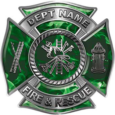 Custom Personalized Fire Fighter Decal with Fire Scramble in Green Inferno
