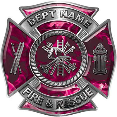 Custom Personalized Fire Fighter Decal with Fire Scramble in Pink Inferno