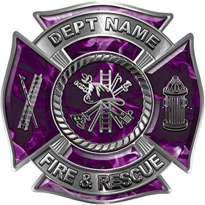 Custom Personalized Fire Fighter Decal with Fire Scramble in Purple Inferno