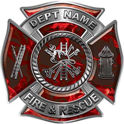 Custom Personalized Fire Fighter Decal with Fire Scramble in Red Inferno
