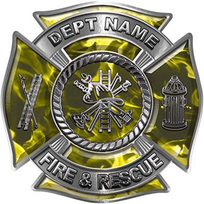 Custom Personalized Fire Fighter Decal with Fire Scramble in Yellow Inferno