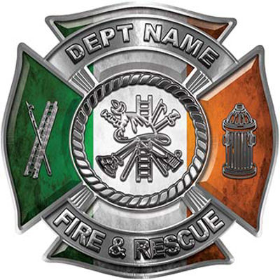 Custom Personalized Fire Fighter Decal with Fire Scramble with Irish Flag