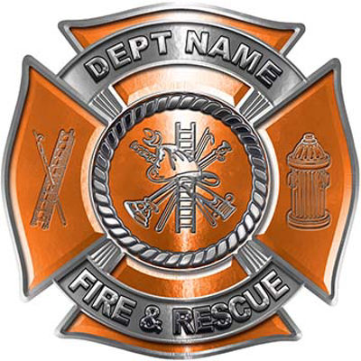 Custom Personalized Fire Fighter Decal with Fire Scramble in Orange