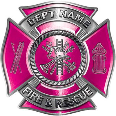 Custom Personalized Fire Fighter Decal with Fire Scramble in Pink