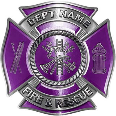 Custom Personalized Fire Fighter Decal with Fire Scramble in Purple
