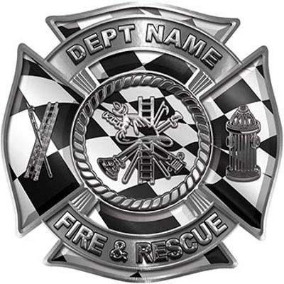 Custom Personalized Fire Fighter Decal with Fire Scramble with Checkered Racing Victory Flag