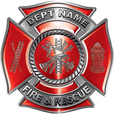 Custom Personalized Fire Fighter Decal with Fire Scramble in Red