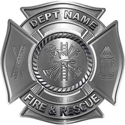 Custom Personalized Fire Fighter Decal with Fire Scramble in Silver
