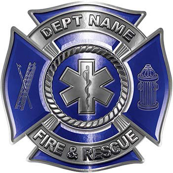 Custom Personalized Fire Fighter Decal with Star of Life in Blue