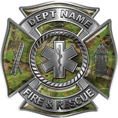 Custom Personalized Fire Fighter Decal with Star of Life in Camouflage