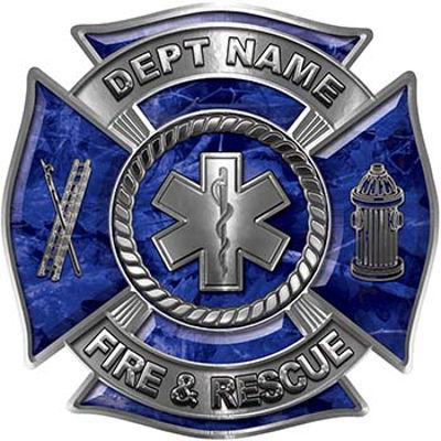Custom Personalized Fire Fighter Decal with Star of Life in Blue Camouflage