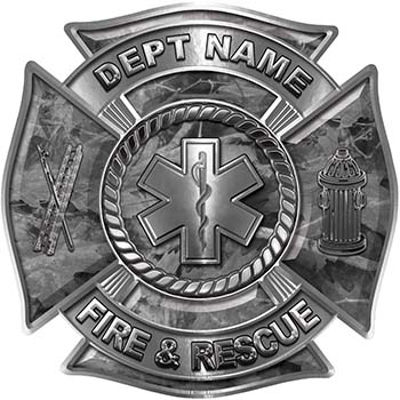 Custom Personalized Fire Fighter Decal with Star of Life in Gray Camouflage