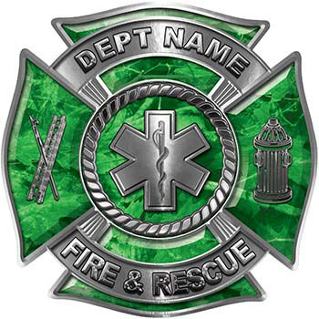 Custom Personalized Fire Fighter Decal with Star of Life in Green Camouflage