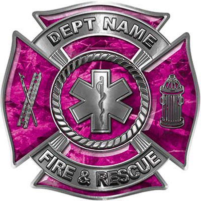 Custom Personalized Fire Fighter Decal with Star of Life in Pink Camouflage