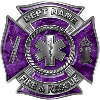 Custom Personalized Fire Fighter Decal with Star of Life in Purple Camouflage