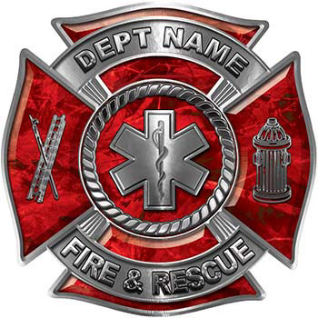 Custom Personalized Fire Fighter Decal with Star of Life in Red Camouflage