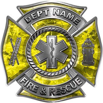 Custom Personalized Fire Fighter Decal with Star of Life in Yellow Camouflage