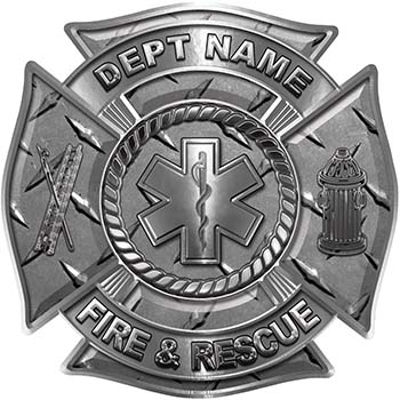 Custom Personalized Fire Fighter Decal with Star of Life in Diamond Plate