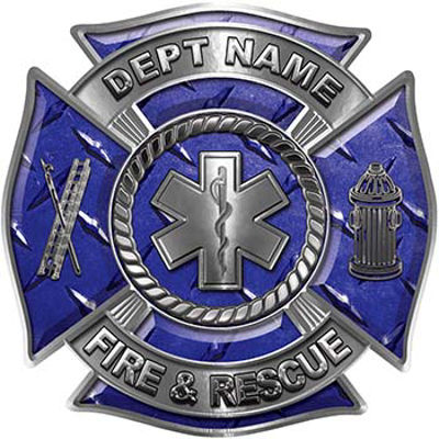 Custom Personalized Fire Fighter Decal with Star of Life in Blue Diamond Plate