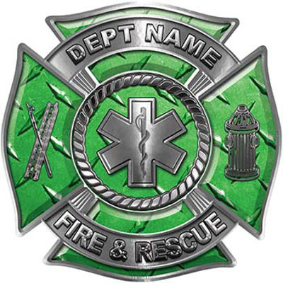 Custom Personalized Fire Fighter Decal with Star of Life in Green Diamond Plate