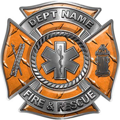 Custom Personalized Fire Fighter Decal with Star of Life in Orange Diamond Plate