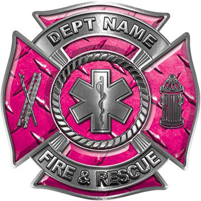 Custom Personalized Fire Fighter Decal with Star of Life in Pink Diamond Plate