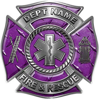 Custom Personalized Fire Fighter Decal with Star of Life in Purple Diamond Plate
