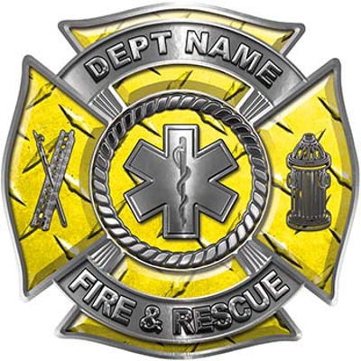 Custom Personalized Fire Fighter Decal with Star of Life in Red Diamond Plate