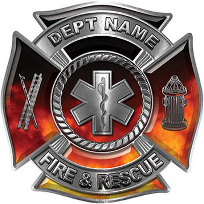 Custom Personalized Fire Fighter Decal with Star of Life in Real Fire