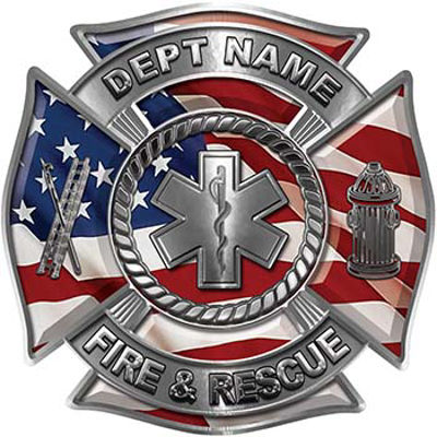 Custom Personalized Fire Fighter Decal with Star of Life with American Flag