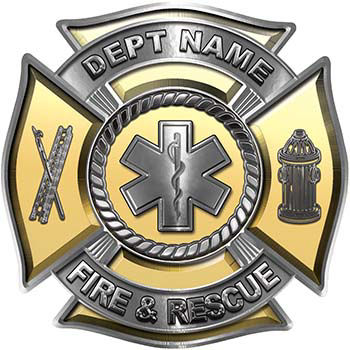 Custom Personalized Fire Fighter Decal with Star of Life in Gold