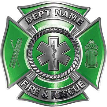 Custom Personalized Fire Fighter Decal with Star of Life in Green