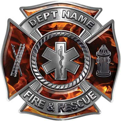 Custom Personalized Fire Fighter Decal with Star of Life in Inferno