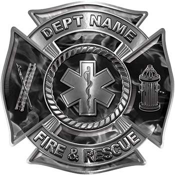 Custom Personalized Fire Fighter Decal with Star of Life in Gray Inferno