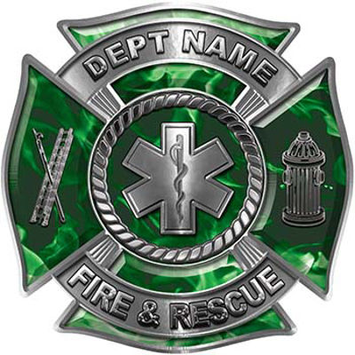 Custom Personalized Fire Fighter Decal with Star of Life in Green Inferno