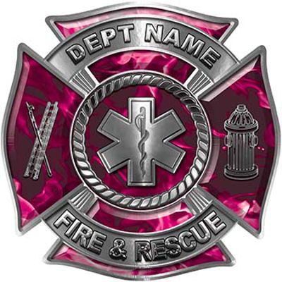 Custom Personalized Fire Fighter Decal with Star of Life in Pink Inferno