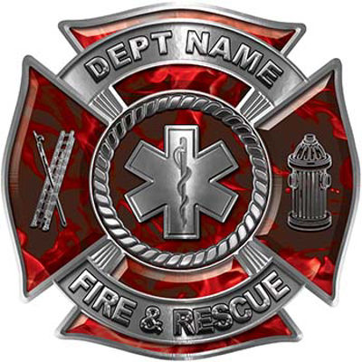 Custom Personalized Fire Fighter Decal with Star of Life in Red Inferno