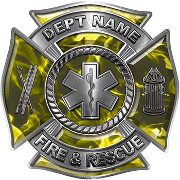 Custom Personalized Fire Fighter Decal with Star of Life in Yellow Inferno
