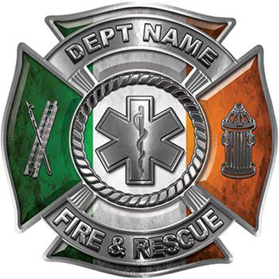 Custom Personalized Fire Fighter Decal with Star of Life with Irish Flag