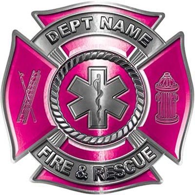 Custom Personalized Fire Fighter Decal with Star of Life in Pink