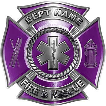 Custom Personalized Fire Fighter Decal with Star of Life in Purple