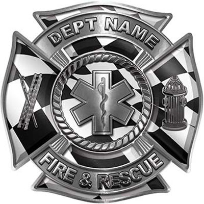Custom Personalized Fire Fighter Decal with Star of Life with Racing Checkered Flag