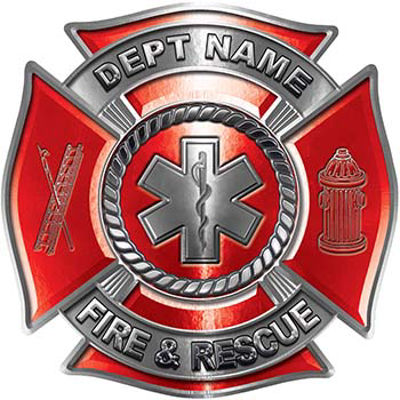 Custom Personalized Fire Fighter Decal with Star of Life in Red