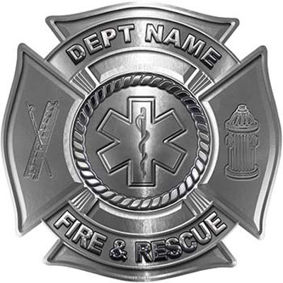 Custom Personalized Fire Fighter Decal with Star of Life in Silver
