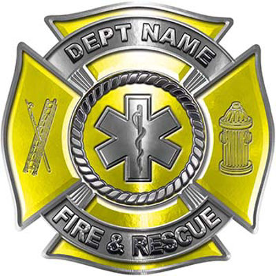 Custom Personalized Fire Fighter Decal with Star of Life in Yellow