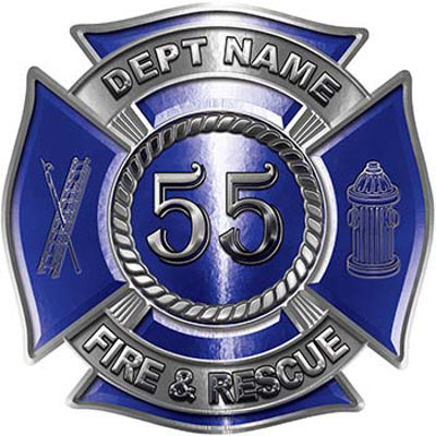 Personalized Fire Fighter Decal with Your Number in Blue